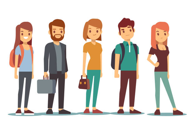 queue of young people. waiting women and men standing in line. vector illustration - cartoon people stock illustrations, clip art, cartoons, & icons