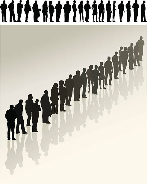 Queue Various individual figures standing patiently in line people in a row stock illustrations