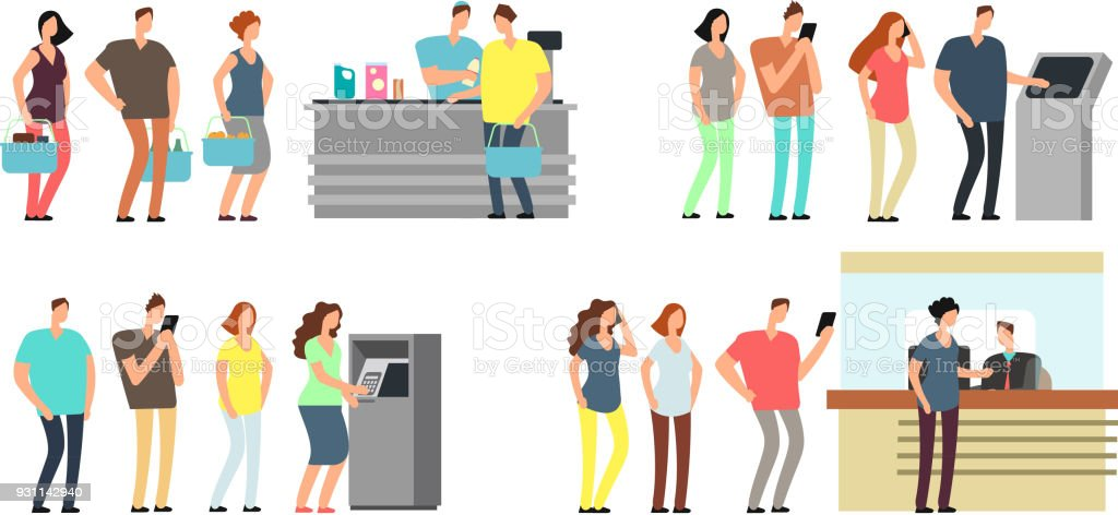 Queues of people vector set. Man and woman standing in line at atm, terminal and bank vector cartoon icons set vector art illustration