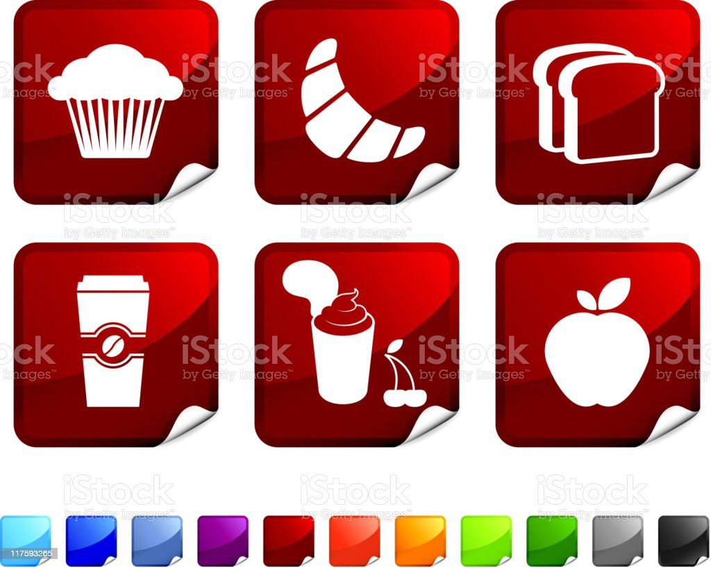 quick breakfast royalty free vector icon set stickers royalty-free stock vector art