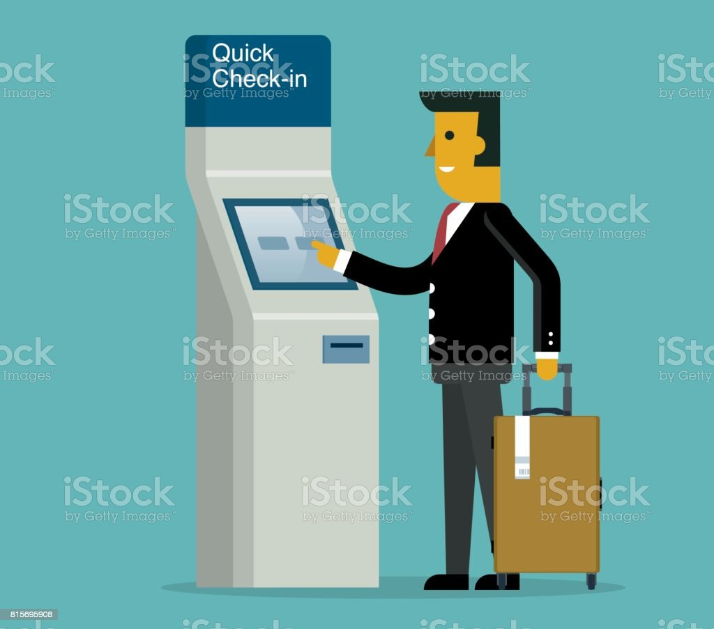 Quick Check-In - Businessman vector art illustration