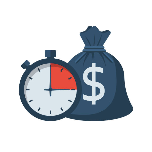 Quick credit. Fast money Quick credit. Fast money. Bag of money and stopwatch. Loan in a short time. Business and finance. Timely payment, financial solution. Vector illustration flat design. wages stock illustrations