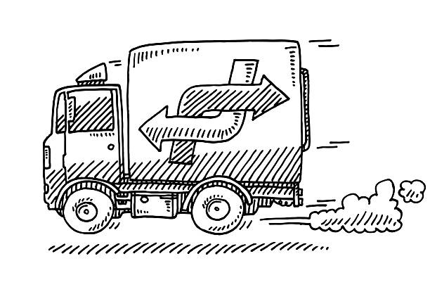 Quick Delivery Van Drawing Hand-drawn vector drawing of a Quick Delivery Van, Side View. Black-and-White sketch on a transparent background (.eps-file). Included files are EPS (v10) and Hi-Res JPG. transportation stock illustrations