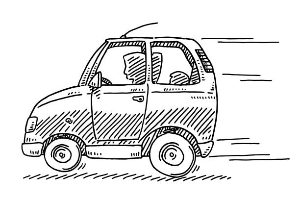 Quick Driving Small Car Drawing Hand-drawn vector drawing of a Quick Driving Small Car. Black-and-White sketch on a transparent background (.eps-file). Included files are EPS (v10) and Hi-Res JPG. transportation stock illustrations