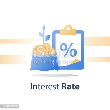 Fast cash loan, quick easy money, invest fund solution, lucrative portfolio, secure finance investment, savings account, banking services, interest rate, vector icon