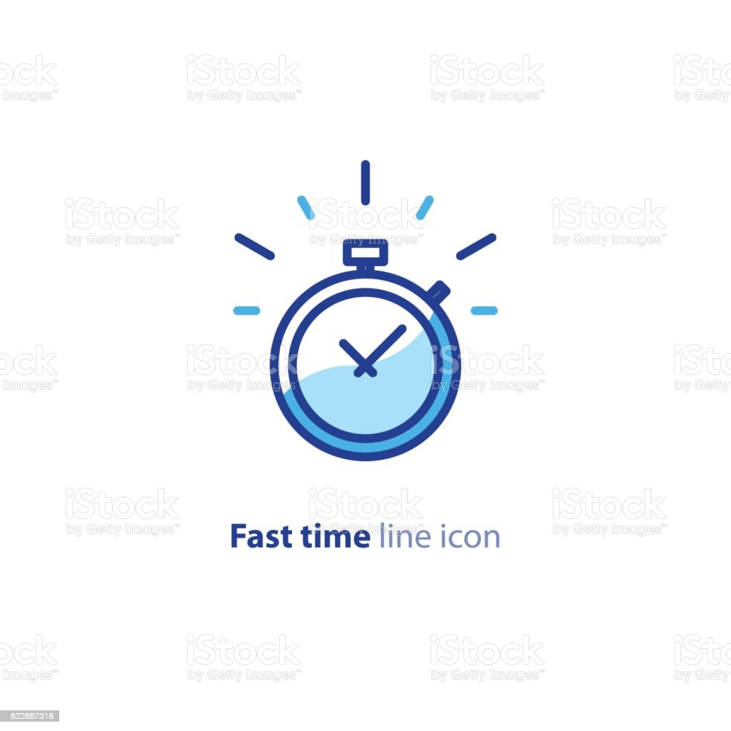 Quick services, fast delivery, deadline time, delay alarm, line icon vector art illustration