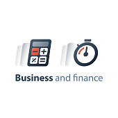 Quick solution, fast time, deadline clock, business and finance concept, stopwatch and calculator