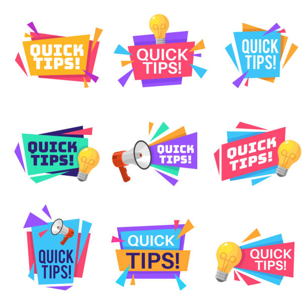 Quick tip. Helpful tricks and advice blog post badges with idea light bulb and megaphone symbols on creative origami banners vector labels Quick tip. Helpful tricks and advice blog post badges with idea light bulb and megaphone symbols on creative origami banners vector blogging colorful text labels stunt stock illustrations