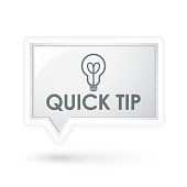 quick tip words with bulb icon on a speech bubble