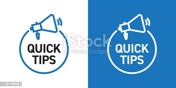 istock Quick Tips Badge Design with Icon 1161184281