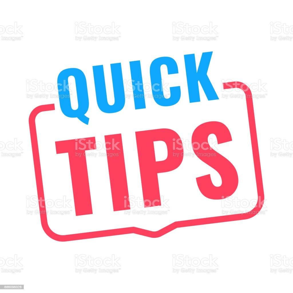 Quick tips. Badge icon. Flat vector illustration on white background. vector art illustration