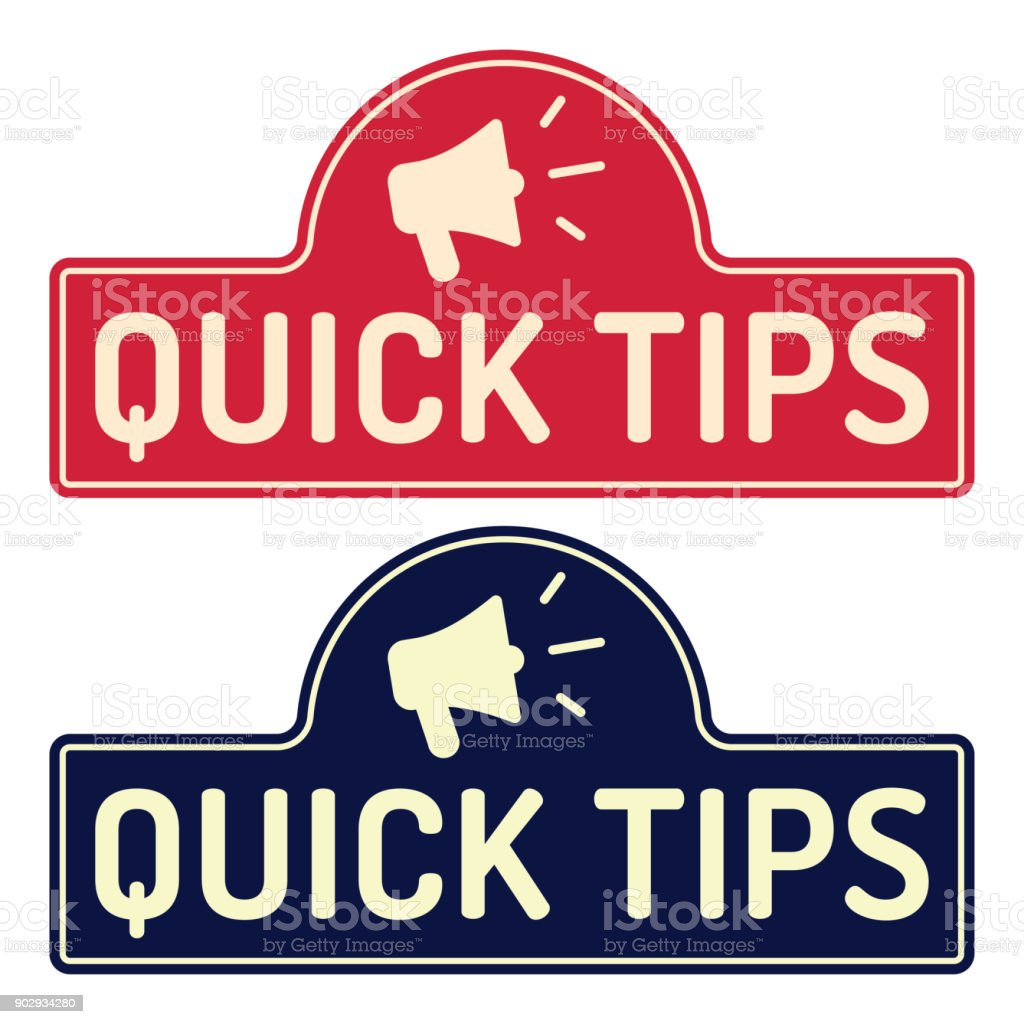 Quick Tips Badge Icon Flat Vector Illustration On White