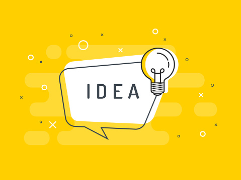 Quick Tips badge with light bulb and speech bubble. Trendy flat vector on yellow background. Vector Illustration. clipart