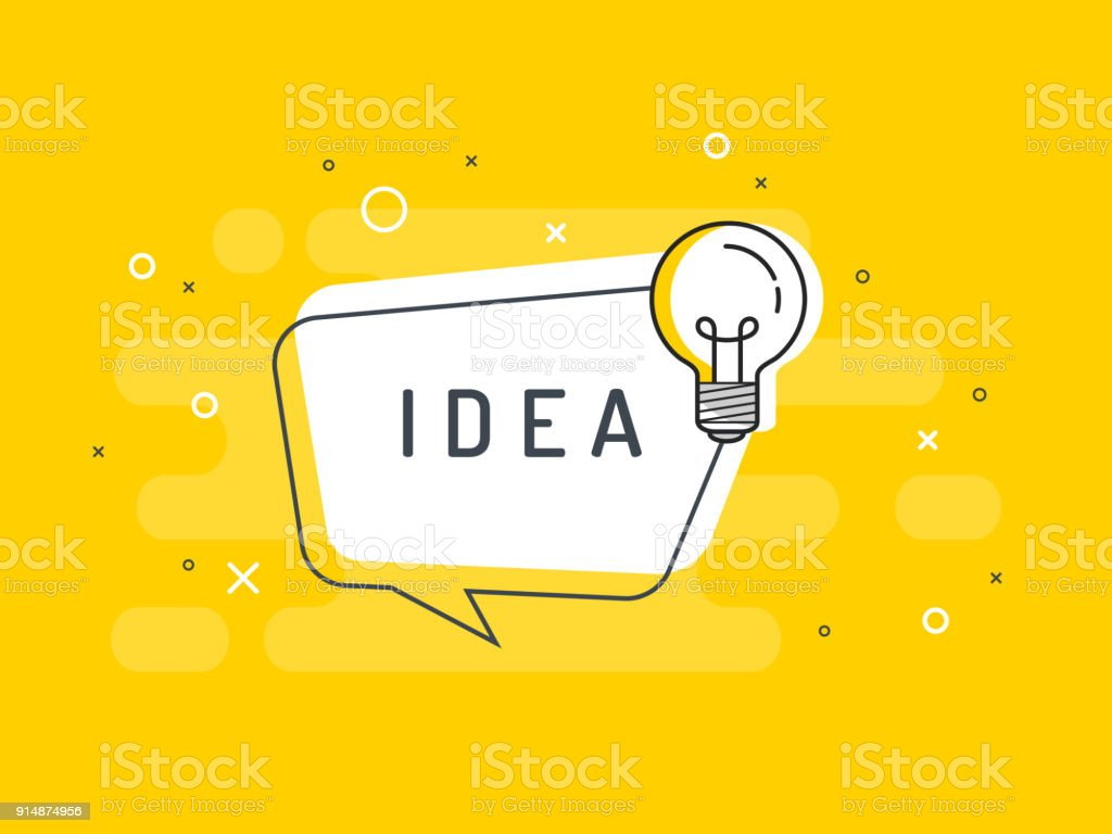 Quick Tips badge with light bulb and speech bubble. Trendy flat vector on yellow background. Vector Illustration. vector art illustration