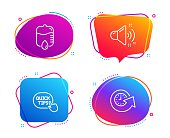 Quick tips, Drop counter and Loud sound icons set. Update time sign. Helpful tricks, Medical equipment, Music. Vector