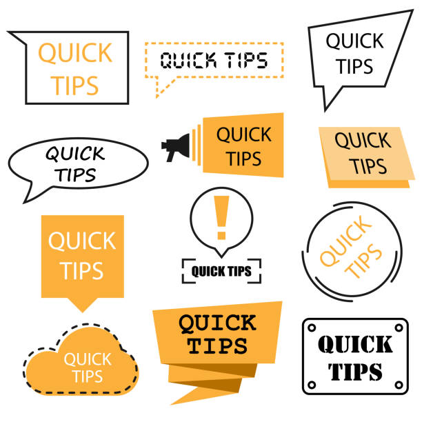 Quick tips emblems and banners Quick tips emblems and banners in vector stunt stock illustrations