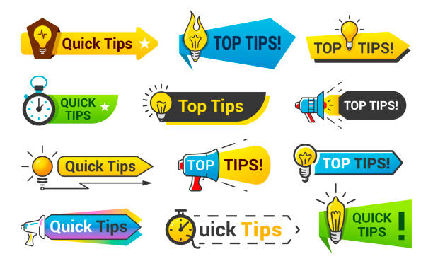 Quick tips icon set, information banner design Quick tips icon set, information banner design. Information banner buttons. Vector flat style cartoon illustration isolated on white background stunt stock illustrations