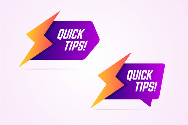 Quick tips icons with lightning, bolt sign. Quick tips icons with lightning, bolt sign. Vector illustration in modern gradient style. stunt stock illustrations