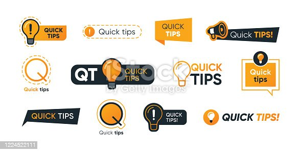 Quick tips letterings set. Abstract shapes, speech bubbles, lightbulbs, exclamation marks with text. Vector illustration for helpful advice, tricks, solution, suggestion concept