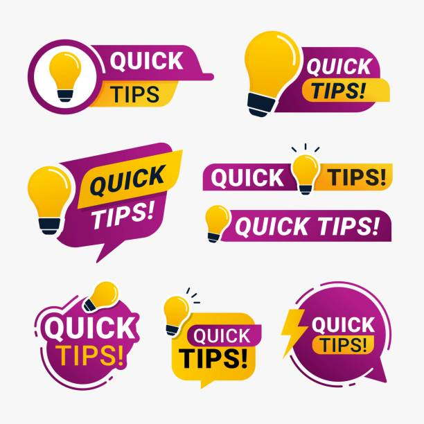 Quick tips logo badge with yellow lightbulb icon vector illustration Quick tips logo badge with yellow lightbulb icon vector illustration stunt stock illustrations