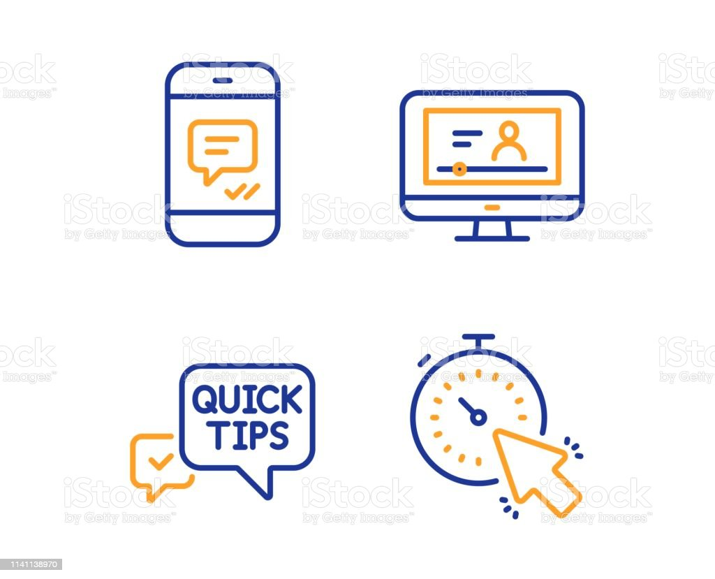 Quick Tips Message And Online Video Icons Set Timer Sign