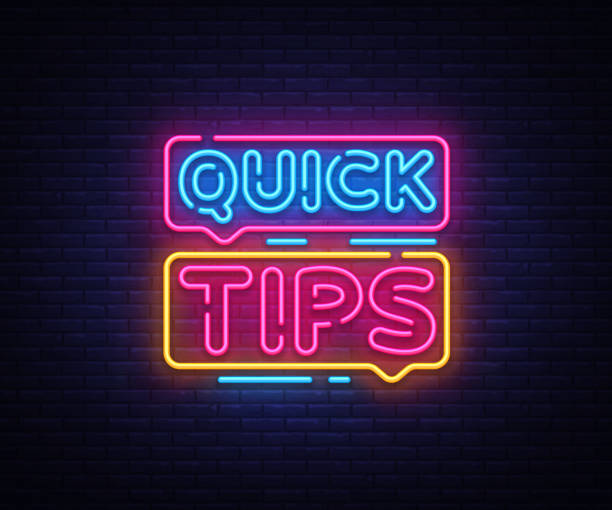 Quick Tips Neon sign vector design template. Quick tips neon text, light banner design element colorful modern design trend, night bright advertising, bright sign. Vector illustration Quick Tips Neon sign vector design template. Quick tips neon text, light banner design element colorful modern design trend, night bright advertising, bright sign. Vector illustration. stunt stock illustrations