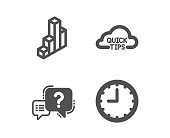 Quick tips, Question mark and 3d chart icons. Time sign. Helpful tricks, Quiz chat, Presentation column. Vector