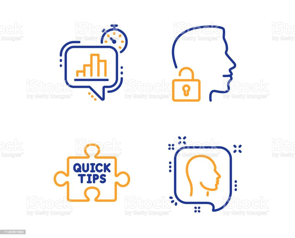 Quick Tips Statistics Timer And Unlock System Icons Set Head Sign