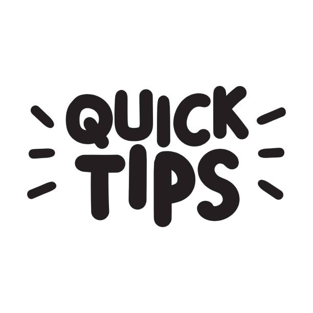 Quick tips. Vector hand drawn lettering illustration on white background. Funny concept. stunt stock illustrations