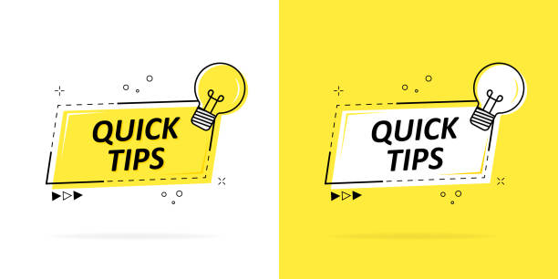 Quick tips with a logo, badge or character set in black and yellow and a light bulb for web design. Vector illustration. Quick tips with a logo, badge or character set in black and yellow and a light bulb for web design. Vector illustration stunt stock illustrations