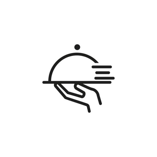bildbanksillustrationer, clip art samt tecknat material och ikoner med snabb servitör linje ikon - catering food