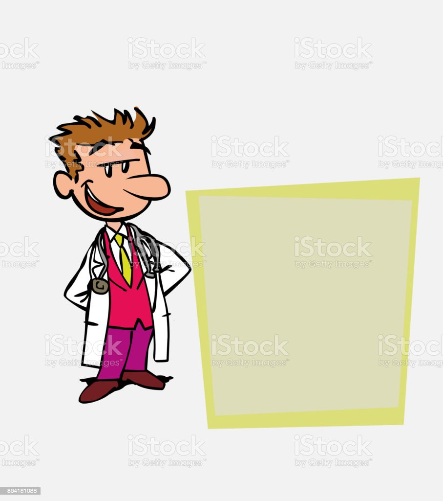 Quiet and relaxed white doctor. Is showing, as in a presentation, the data you want. royalty-free quiet and relaxed white doctor is showing as in a presentation the data you want stock vector art & more images of care