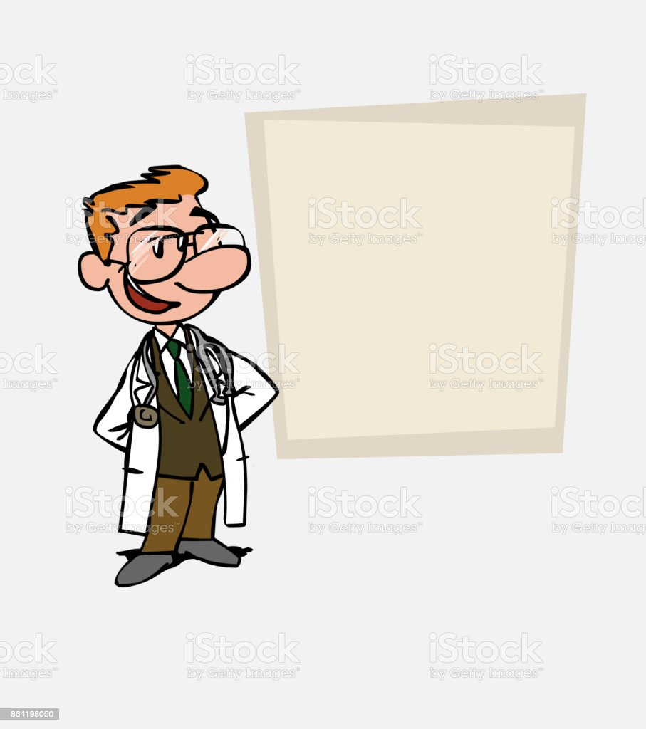 Quiet and relaxed White doctor with glasses. Is showing, as in a presentation, the data you want. royalty-free quiet and relaxed white doctor with glasses is showing as in a presentation the data you want stock vector art & more images of care