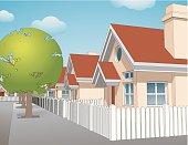 idealistic suburban neighborhood