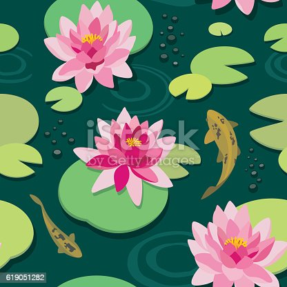Pink lotus and koi fish in the old pond. Vector seamless pattern.