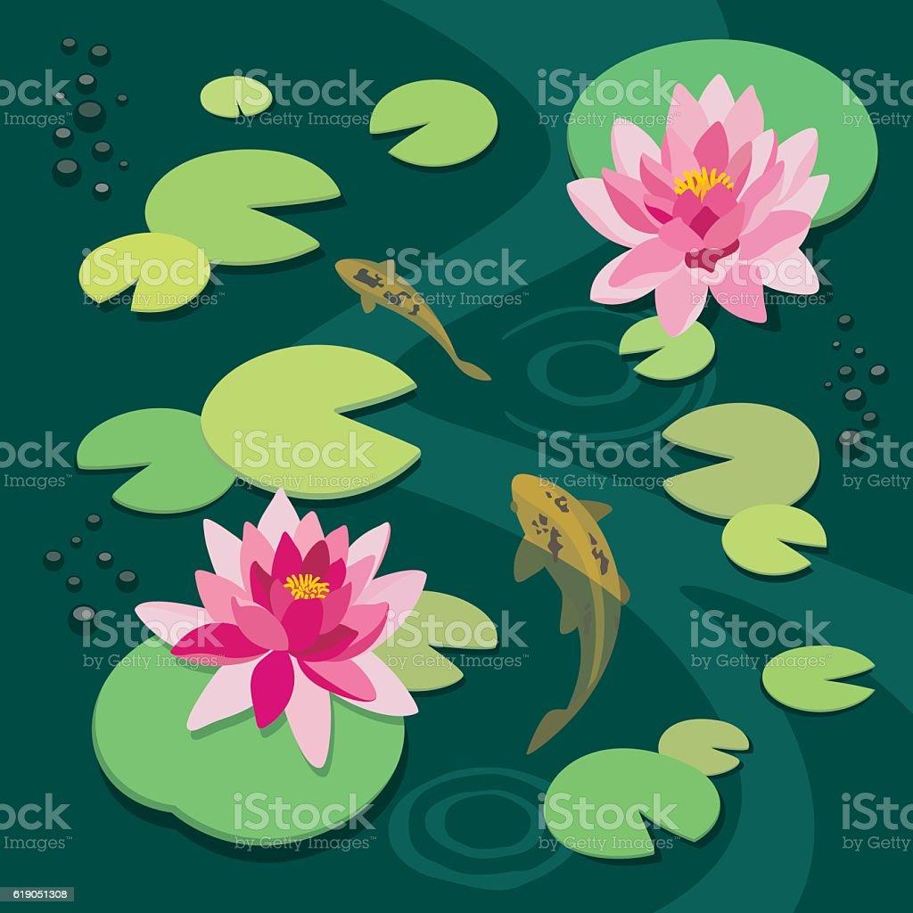 Quiet pond vector art illustration