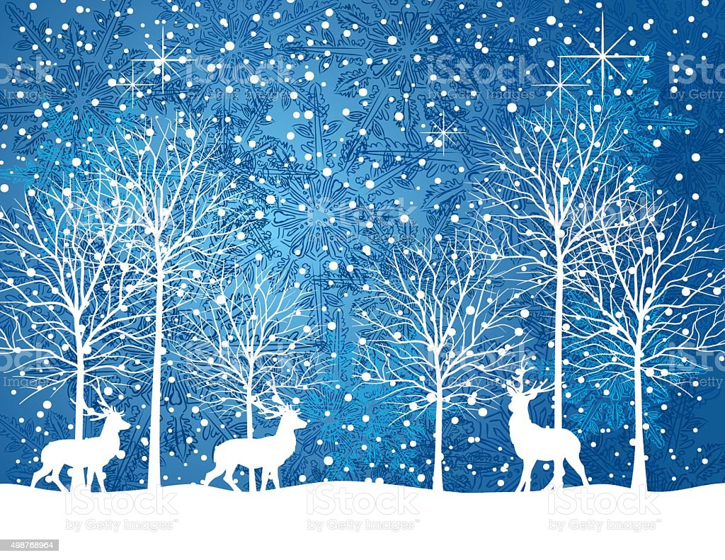 Quiet Winter Night Snowy Landscape With Trees And Deer向量藝術插圖