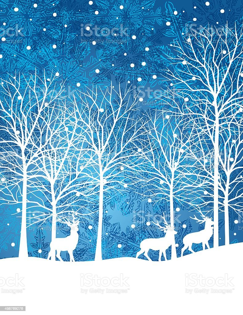 Quiet Winter Night Snowy Landscape With Trees And Deer vector art illustration