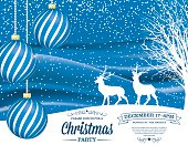 Winter Snowy Landscape With bare trees, ornaments and reindeer.  Winter scene with Christmas Party invitation. Blue