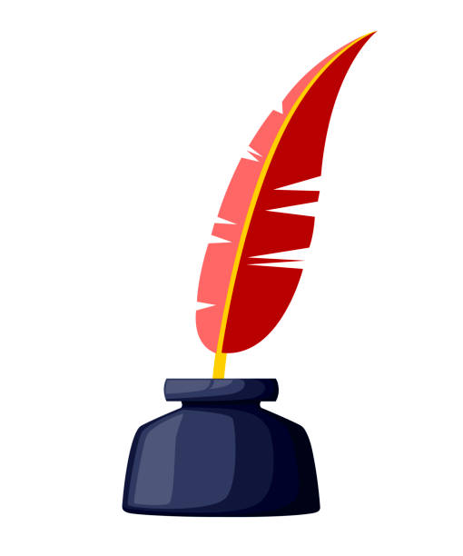ilustrações de stock, clip art, desenhos animados e ícones de quill and inkwell color icon. red writing feather. pen symbol illustration. vector illustration isolated on white background - tinteiro