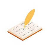 Quill and old  book isometric 3d icon