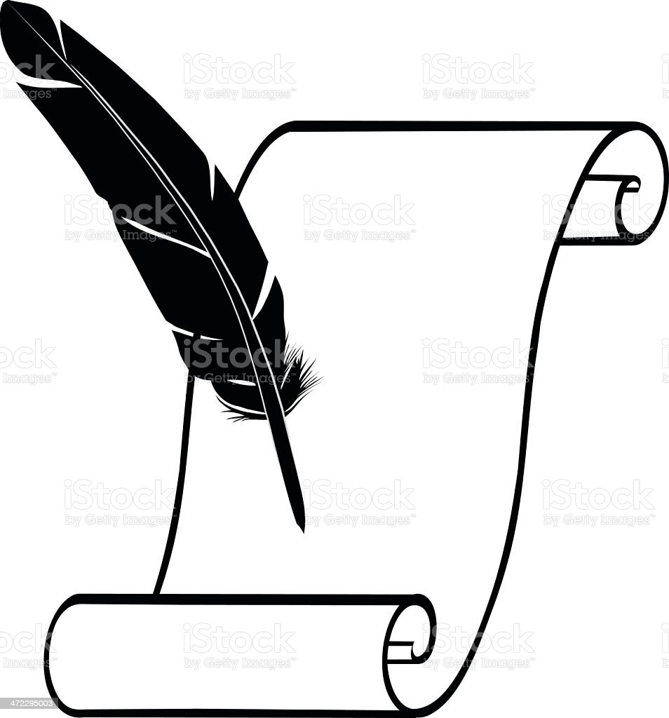 royalty free scroll and quill clip art vector images rh istockphoto com quill clipart black and white quill clipart free