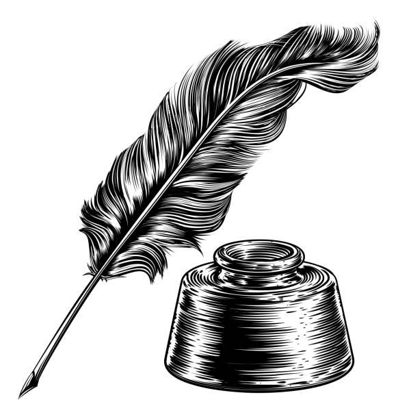 ilustrações de stock, clip art, desenhos animados e ícones de quill feather pen and ink well - tinteiro