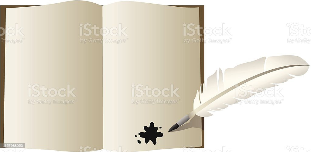 Quill Pen and Book vector art illustration