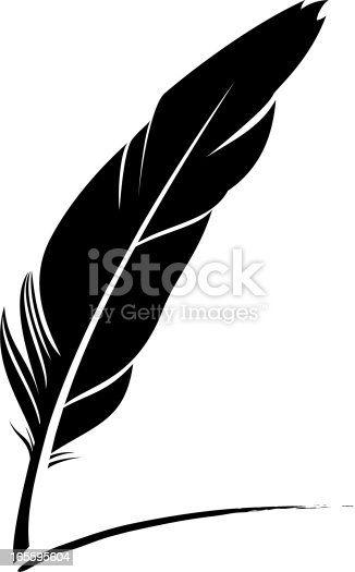 Black and white quill pen icon in vector format.