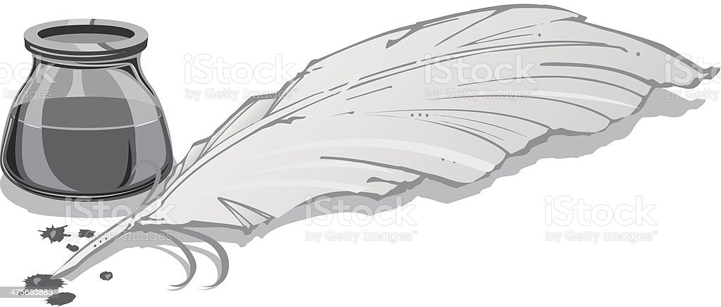 Quill Pen Ink Pot Stock Illustration - Download Image Now ... Quill And Ink Pot
