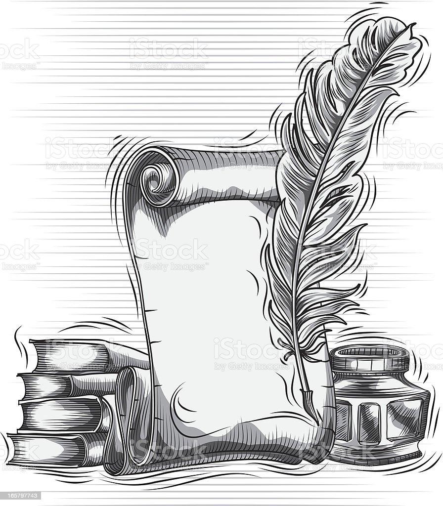 Quill Pen Scroll Stock Illustration
