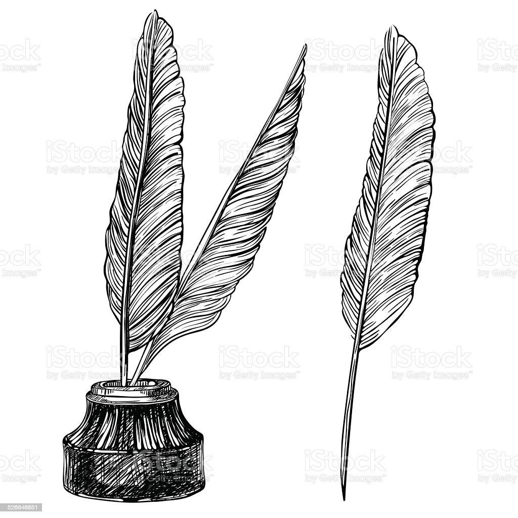 Ancient Soapstone Inkwell Stock Photo: Quill Pens And Inkwell Stock Vector Art & More Images Of