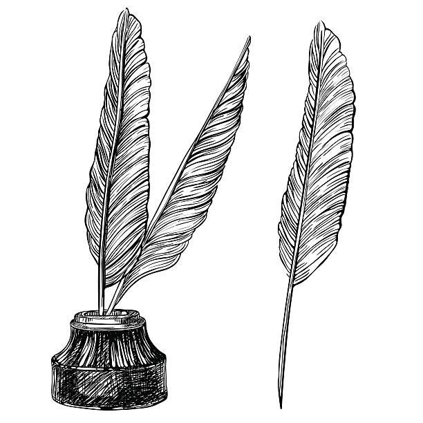 Stylo plume et encrier - Illustration vectorielle