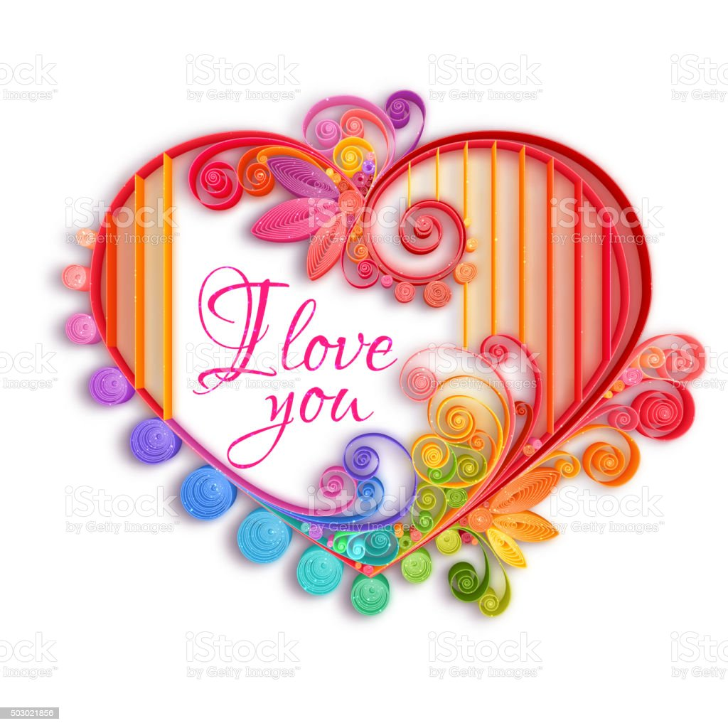 Quilling Paper Heart Happy Valentine Day Vector Illustration Stock